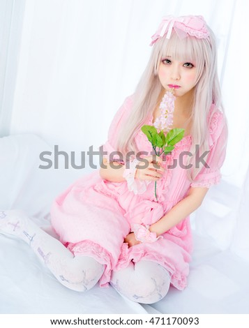Girl with flowers pink princess dress japanese style