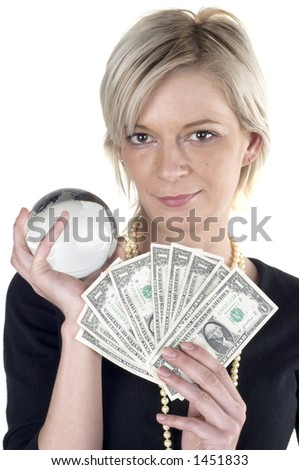 Girl with money and glass globe in her hand