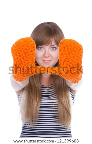 girl with orange mittens