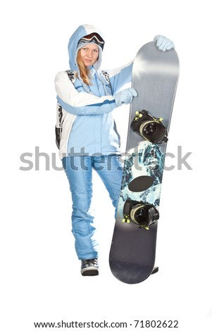 Girl with snowboard in studio on isolated background.