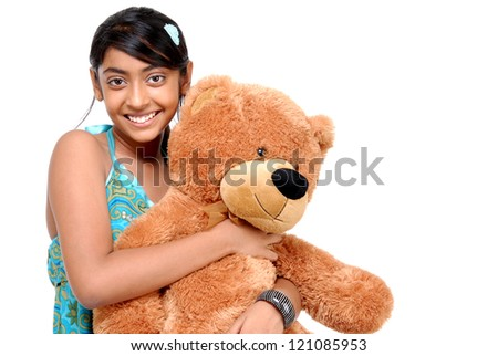 Girl with Teddy bear in an embrace