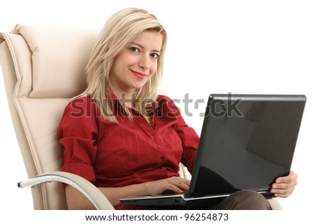 Girl working on comfortable chair