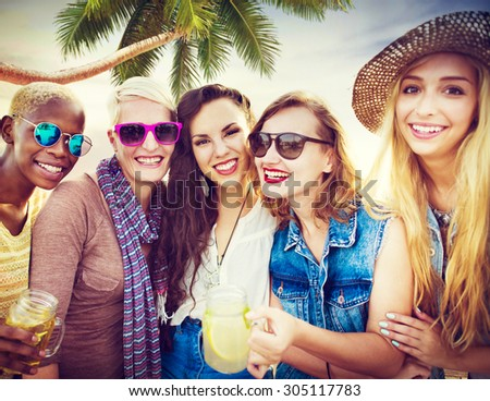 Girlfriends Friendship Party Happiness Summer Concept