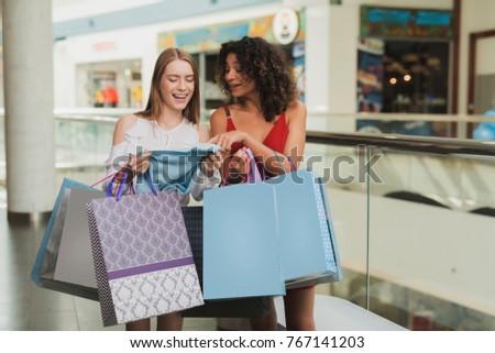 Two Beautiful Girls Shopping Stock Photo 81426895