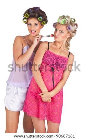 Girls Wearing Hair Curlers