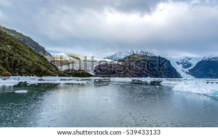 Glacier landscape :Beautiful panorama of mountain with snow and glacier landscape in south America