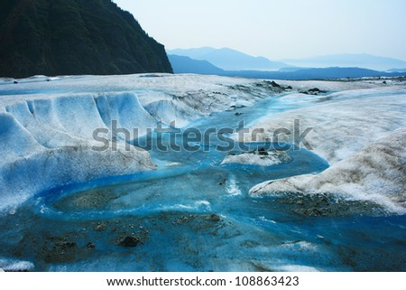Glacier Melt on top of Mendenhall Glacier, Juneau, Alaska, USA