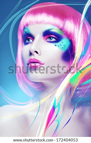 glamour woman with pink wig and lines