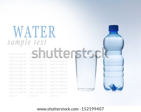 Glass and bottle of mineral water