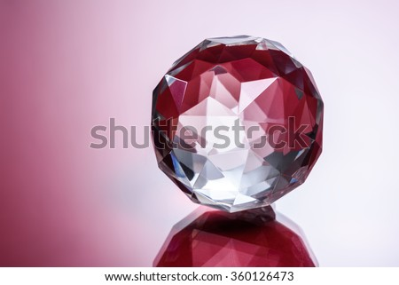 Glass Ball, Red Blurry Background