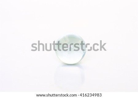 glass ball sphere decoration on white background