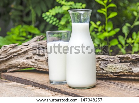 Glass bottle and glass with milk