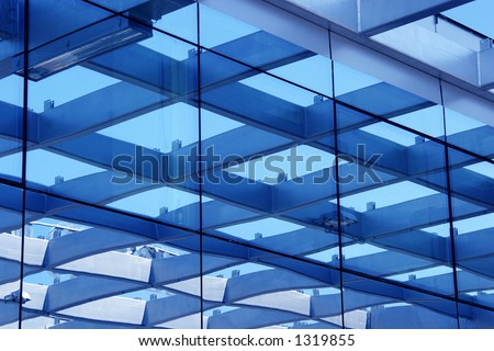 glass building with line
