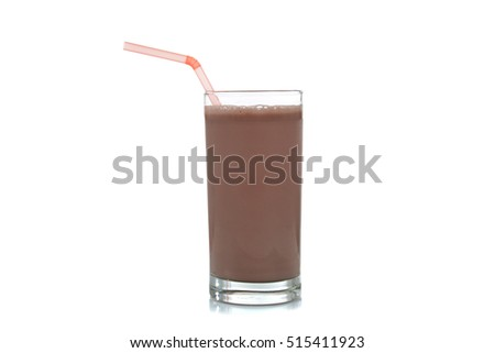 glass of chocolate milk and a straw isolated on white background