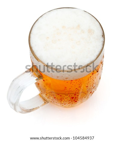 Glass of Draught Beer on White Background