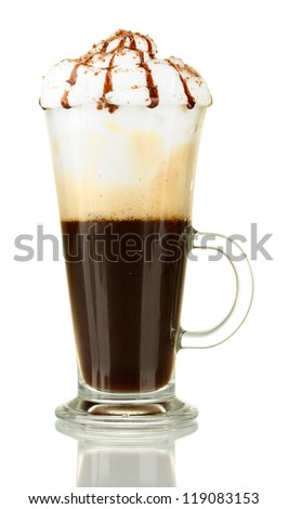 glass of fresh coffee cocktail isolated on white
