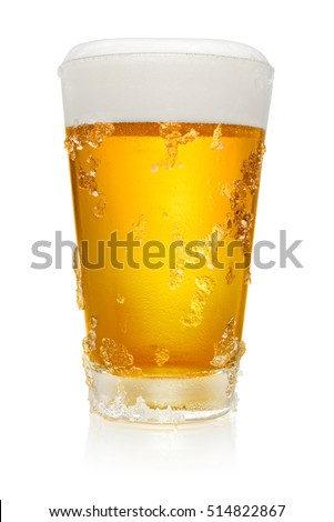 Glass of fresh cold beer with ice crystals isolated on white background, clipping path included