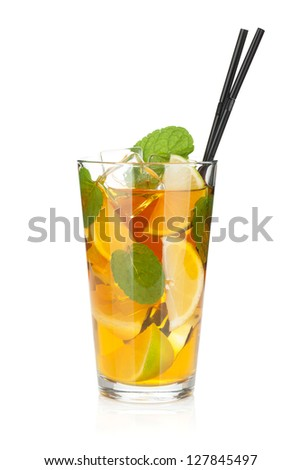 Glass of ice tea with lemon, lime and mint. Isolated on white background