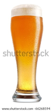 Glass of light beer isolated on white background