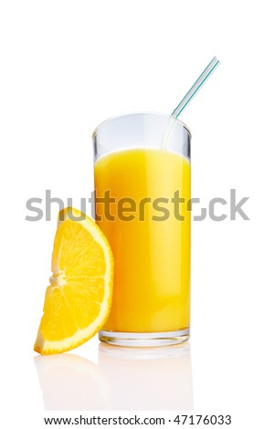 Glass of Orange juice with Fruits on white background