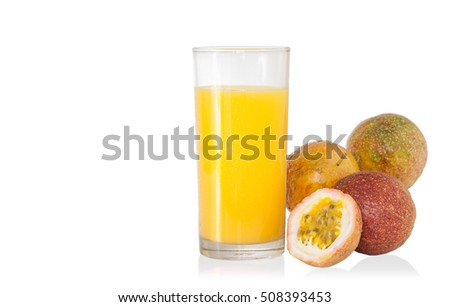 Glass of Passion Fruit isolated on white .clipping path.