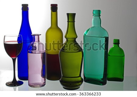 Red green blue bottles colored shadows stock photo 411891 for Where to buy colored wine bottles