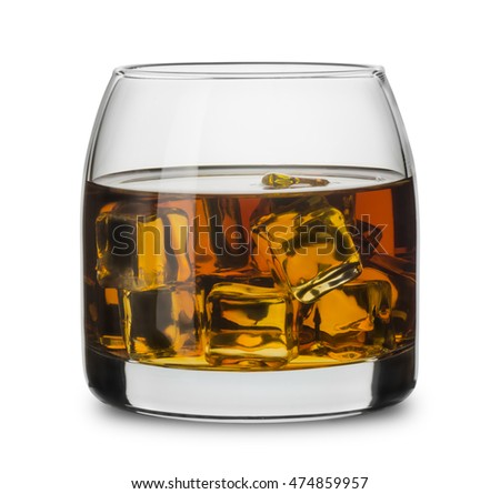 Glass of scotch whiskey with ice cubes isolated on white