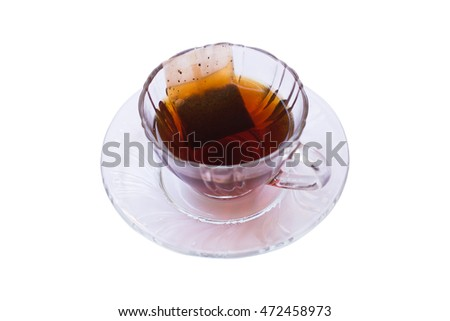 Glass of Tea with Bag Isolated on white background