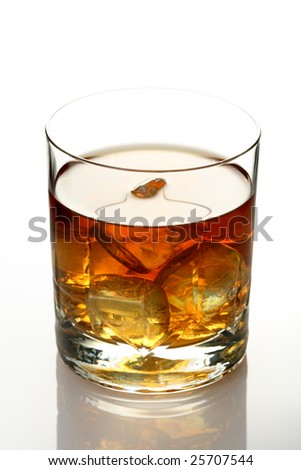 Glass of whiskey on rocks