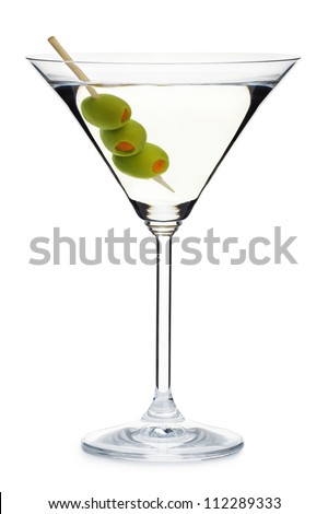 glass with alcohol and olives