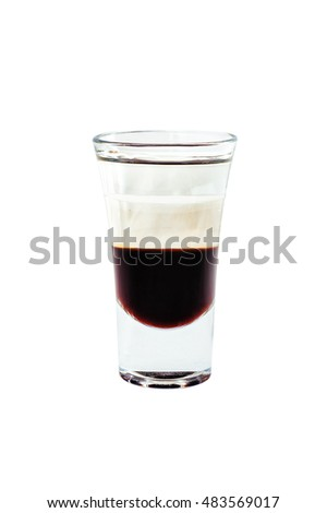 glass with alcoholic cocktails isolated on white background