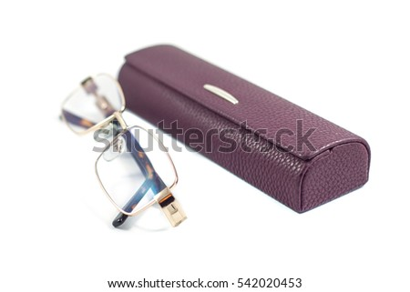 Glasses and case on white background.