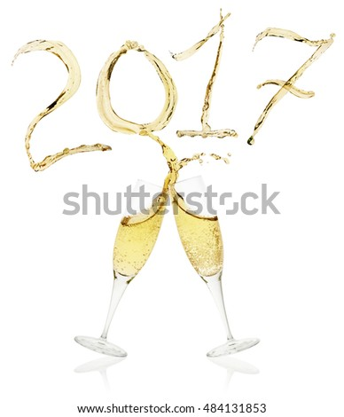 glasses of champagne toasting to New Year's Eve 2017