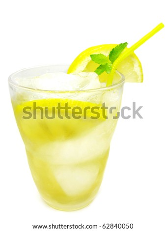 glasses of fruit yellow lemonade with ice and mint