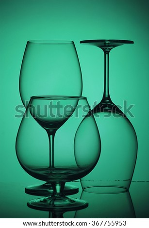 glasses, wine glasses, to the light