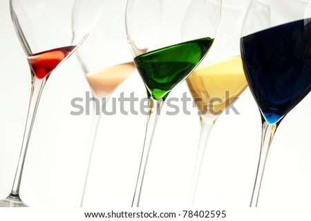 glasses with various types of wine in elegant crystal