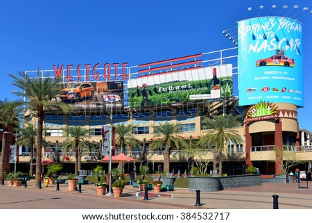 GLENDALE, AZ, USA - FEB 25, 2016:  A portion of the central court of the Westgate Entertainment District which houses the Gila River Arena, home of the NHL team Arizona Coyotes