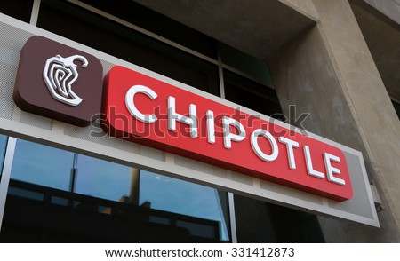 GLENDALE, CA/USA - OCTOBER 24, 2015: Chipolte Mexican Grill sign. Chipolte is a chain of  casual dining restaurants specializing in burritos and tacos.