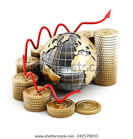 Global finance chart isolated on white background