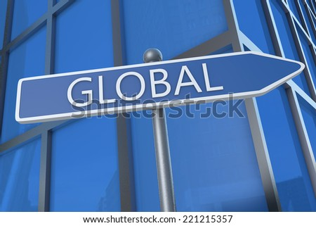 Global - illustration with street sign in front of office building.