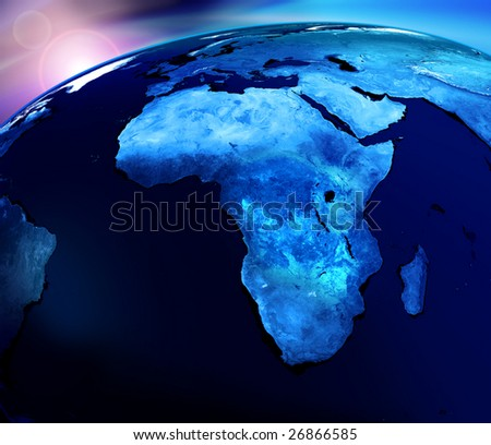 Globe blue world map on dark background