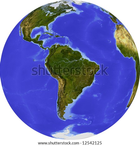 Globe, centered on South America. Shaded relief colored according to dominant vegetation. Shows polar and pack ice, large urban areas. Isolated on white, with clipping path.