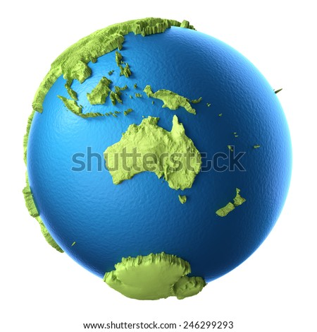 Globe 3d isolated on white background. Continent Australia. Elements of this image furnished by NASA