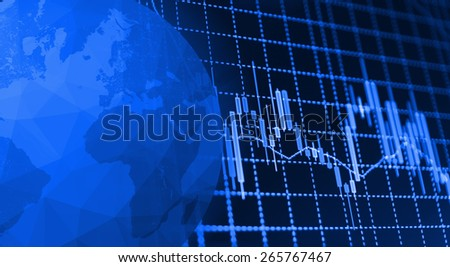 Globe Earth Icon and Stock market graph and bar chart price display. Data on live computer screen. Display of quotes pricing graph visualization. Continets map outline on planet globe icon.