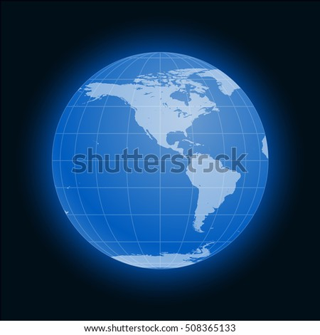 Globe Earth symbol flat icon isolated on black background. America, Antarctica, Arctic. illustration