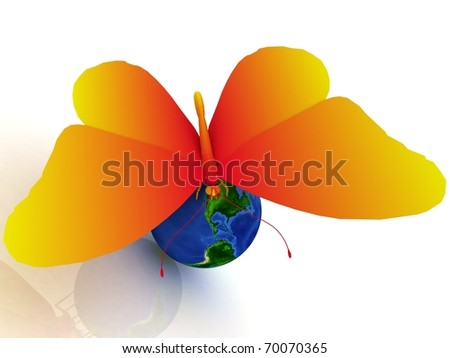 Globe with large butterfly
