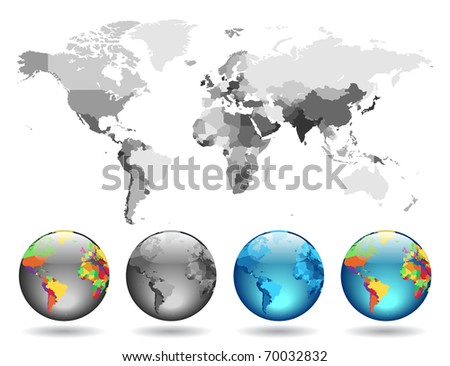 Globes on gray detailed map. Raster version. Vector version is also available.