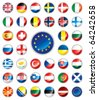 Glossy button flags - Europe. 38 icons. Original size of EU flag in down right corner. JPEG version. - stock vector
