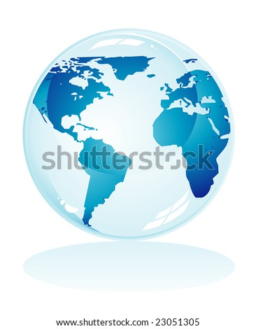 Glossy delicate blue earth icon to use like background