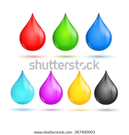 Glossy Drops CMYK and RGB. illustration